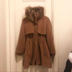 Jackets & Blazers - Camel Coat w Fur Trim Korea Fashion
